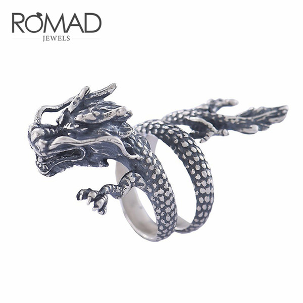 Punk животных Dragon Ring 100% Real 925 стерлингового серебра для мужчин Женщины Vintage Retro Party ко фото