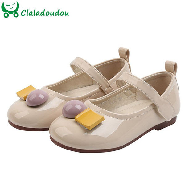 12-19cm High Qulity Children Girls Pu Leather Shoes Candy Color High Bright Girls Solid Color Falts Shoes Patent leather Walkers