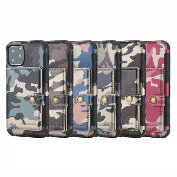 Camouflage  hockproof tpu leather wallet ca e for iphone 11 2019 xr x  max x 8 7 6  am ung note 10 pro military photo id box luxury cover