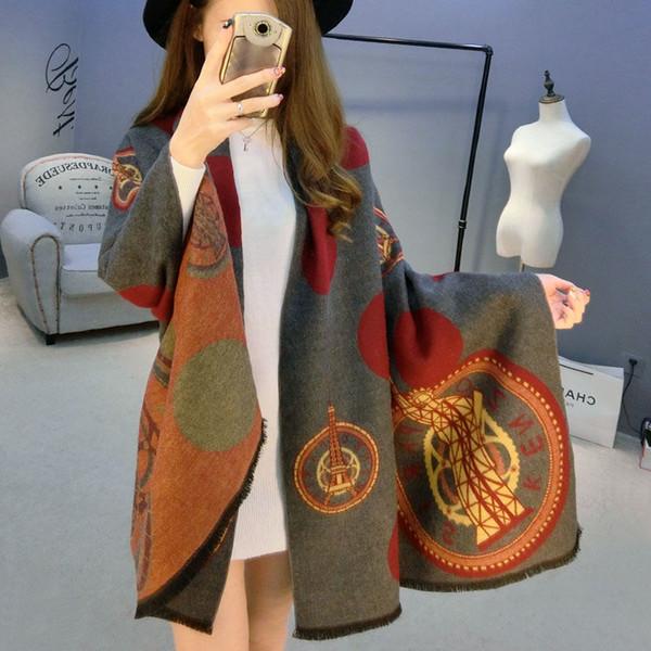 Осень-Зима Модельер Шарф Шерсть Кашемировый Платок Шарфы для Женщин Роскошные Па