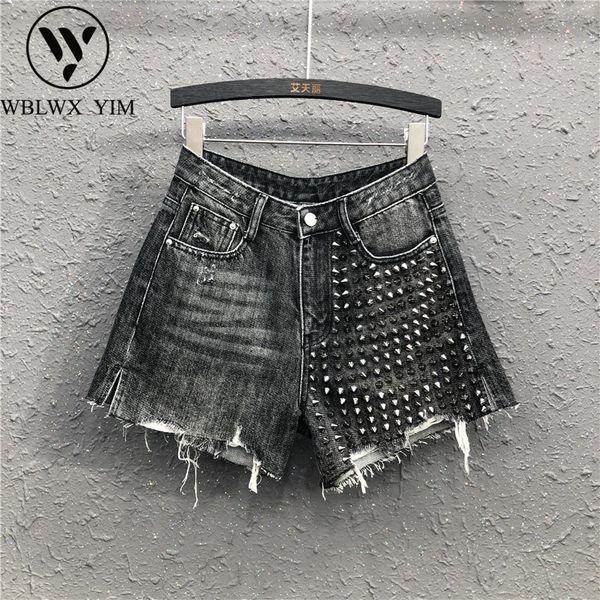 Summer Women Plus Size Washed Denim Shorts Fashion Rivet High waist Jeans Shorts Female Loose Casual Wide leg Short Jeans