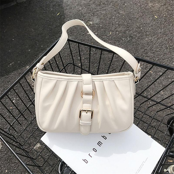lonoolisa 2020 new fashion folds one-shoulder handbags for handbags unique belt lock design clutch bags brand pu leather purses (553500188) photo