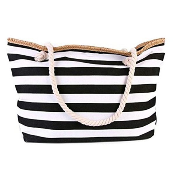 auau-canvas beach bag large stripe handbag purse travel tote (530629167) photo