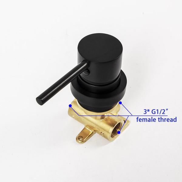 Матовый черный смеситель для воды Клапан из твердой латуни Настенный смеситель для душа Смеситель горячей и холодной воды фото