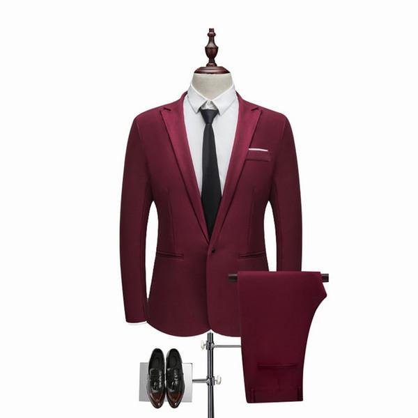 Brand Men Suit Fashion Solid Suit Casual Slim Fit 2 Pieces Mens Wedding Suits Jackets Male Plus Size 3XL