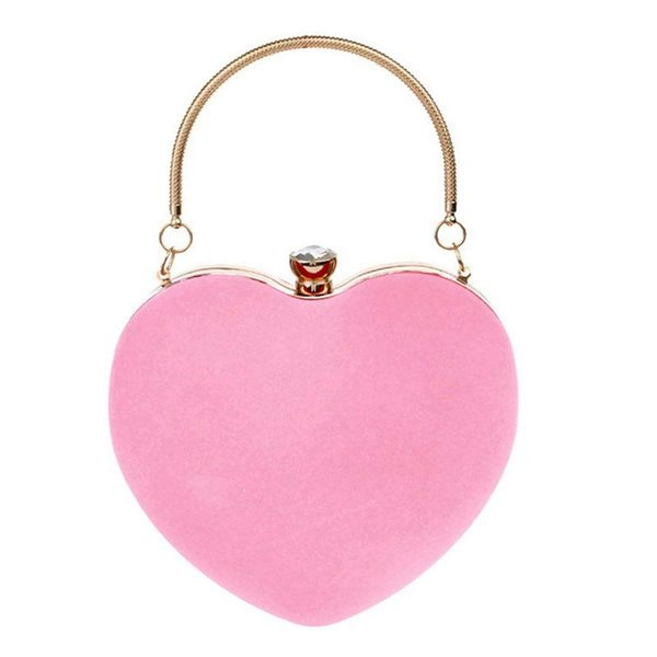 women girls heart shape handbag evening party tote purse(pink) (544390087) photo