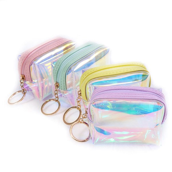 1 pc laser square jelly transparent coin purse women girl lady pvc mini wallet zipper card storage bag little star coin purse (496344418) photo