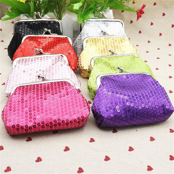 fashion sequins womens wallet kids change purse shiny hasp coin purse mini coin bag 8 colors (448668008) photo