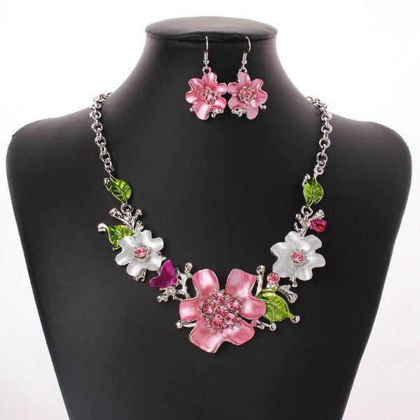Женщины Кристалл цветок кулон ожерелье коренастый заявление колье ювелирные изд