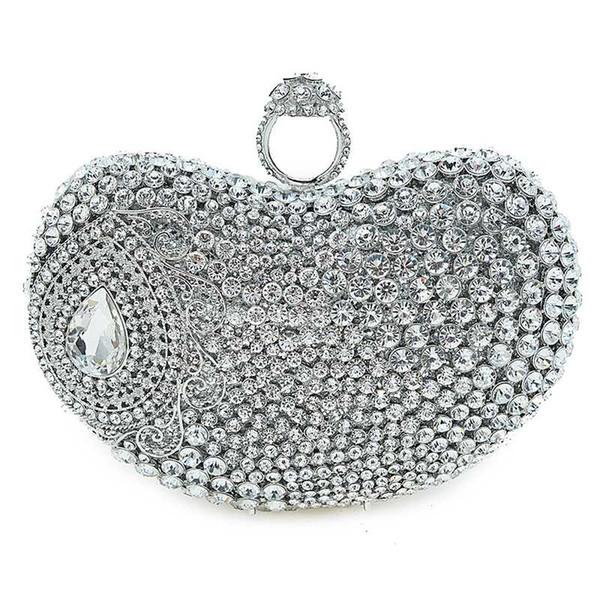 silver rhinestone wedding purse fashion women heart shape evening clutch bag ladies mini party purse prom handbags (535746514) photo