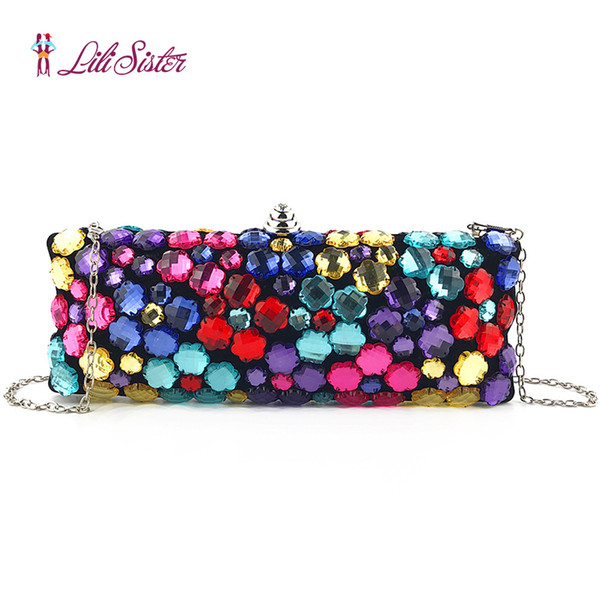 luxury handmade colorful crystal women pearl beaded wallet rhinestone clutches purse evening bag wedding party purse (493061492) photo