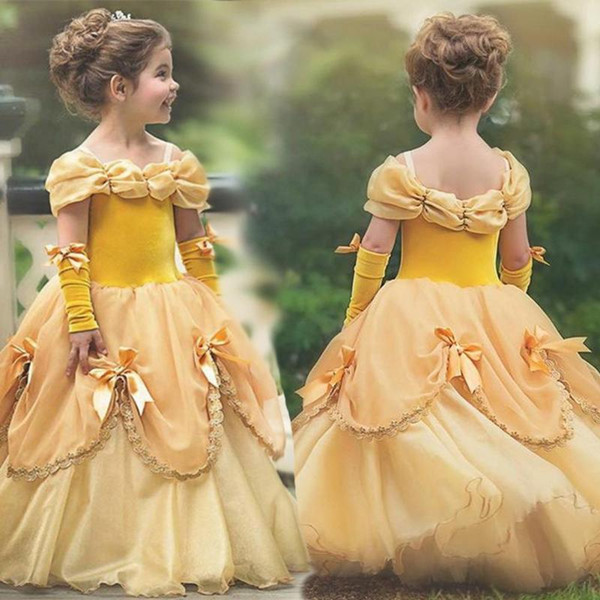 Yiwa Little Girl Stylish Pretty Tutu Princess Dress Halloween Christmas Performance Dress with Gloves Wedding Party Gown Vestidos Robe Fille