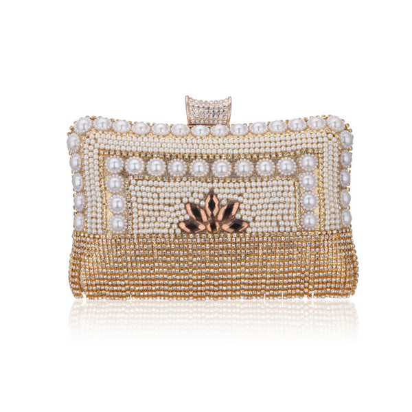 luxury gold handmade crystal pearl geometric heart evening bags fashion women ladies party wedding handbags and purses clutches (519415834) photo