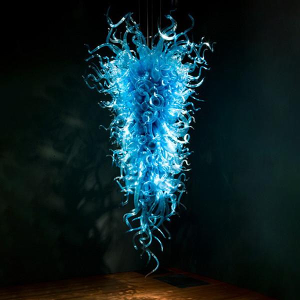 Элегантный Украсьте Домашнее освещение Кри Рука выдувное Blue Glass Art Люстра освещение Светодиодные лампы Бесплатная доставка фото