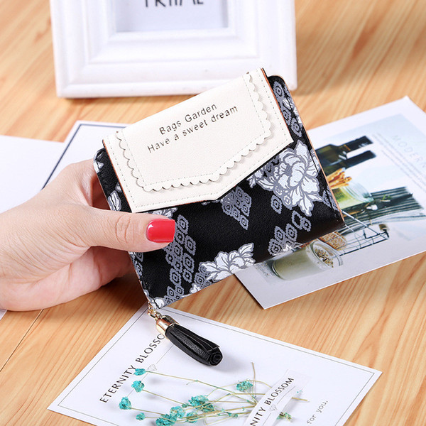 pu leather wallets for women floral printed purse short money bag ladies clutch bag fashion wallet with picture holder (481249885) photo