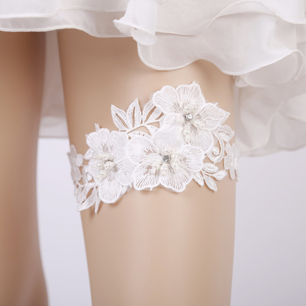 wedding garter rhinestone embroidery flower beading white sexy garters for womenfemalebride thigh ring bridal leg garter body shapewear