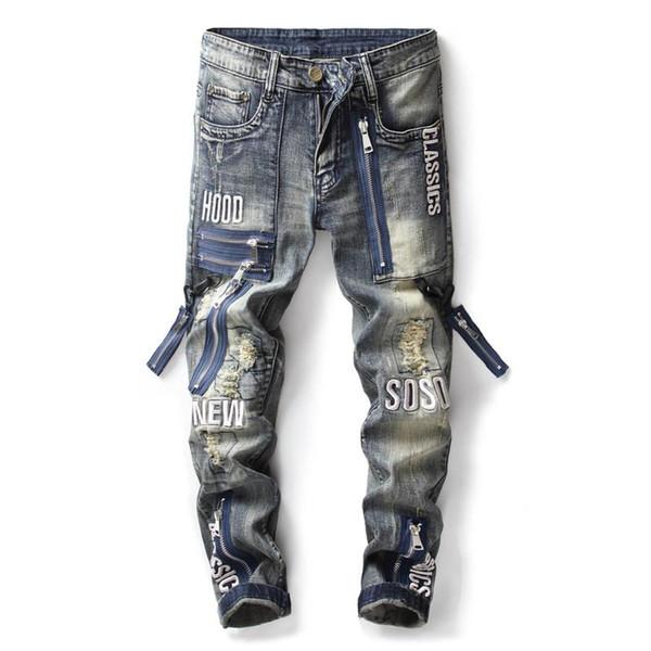 2020 новых мужских джинсы локомотивных отверстие смарта локомотивных джинсы мужского модельер Street хип-хоп мужских джинсы высокого качества бр фото