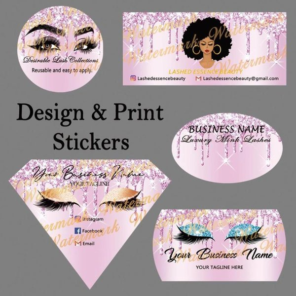 ( Digital Purple Drips on Purple Ombre Background ) Design and Print Stickers for Eyelash Packaging Diamond Sticker