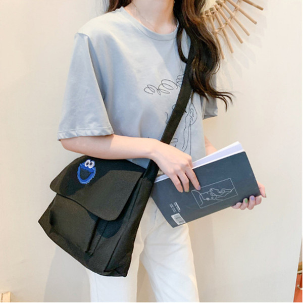 lady girl shoulder bag simple student school bag elegant canvas crossbody for women 2019 purses and handbags messenger (491758846) photo