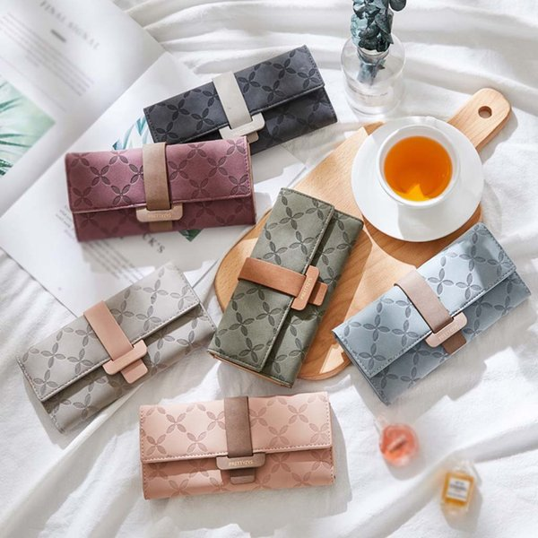 hillsionly womens clutch wallet long buckle femmes purse no zipper compartiment intérieur sac pochette porte photo billetera mujer (481249768) photo