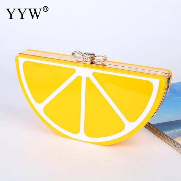 acrylic hard-surface clutch bag over shoulder chain bag girl crossbody bags evening party clutches purse fruit pattern cute (488663442) photo
