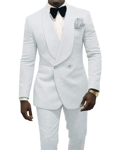 Тиснение Жених Смокинги Белые Мужчины Свадебные Смокинги Шаль Отворотом Мужская фото
