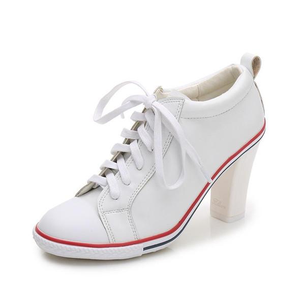 8 стиль сапоги 2018 новые женские туфли на высоком каблуке 6-8 см женские насосы Женские сапоги лодыжки шнуровка толстый каблук тонкий каблук Обувь размер фото