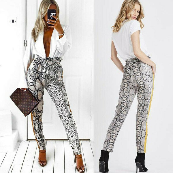 2020 мода Женские брюки змея печати Леопард тонкий длинные брюки высокая талия полная длина брюки повседневные женские брюки одежда S-XL фото