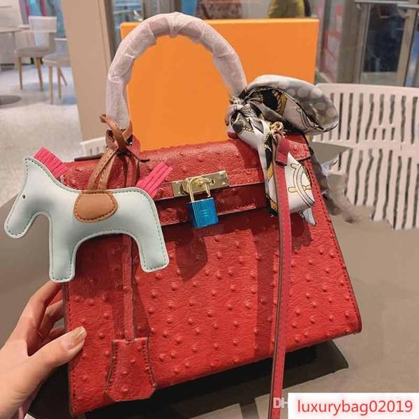 designer luxury handbag purse kaly ostrich pattern ladies purse bag women fashion totes 25cm handbag purse (514308274) photo
