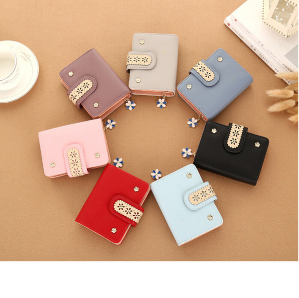 new 2019 women wallet small zipper flower pendant women purse short brand designer female wallet mini girl lace coin purse (482715704) photo
