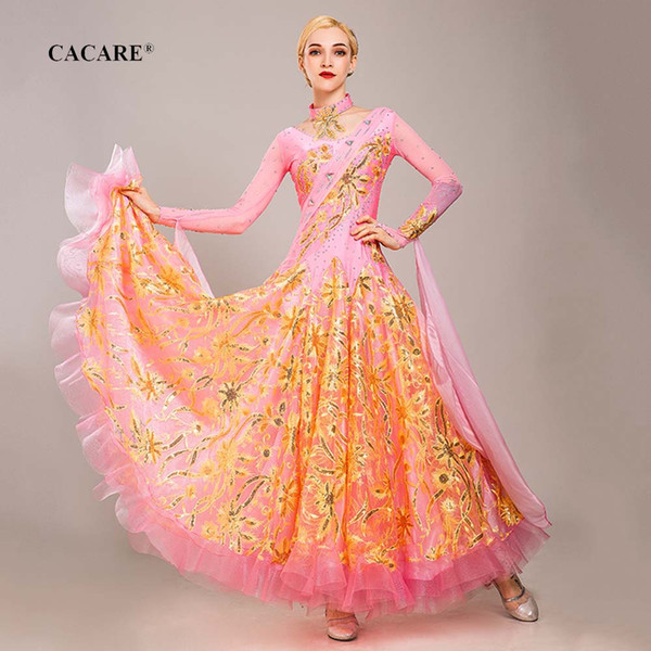 Luxury ballroom dance competition dresses waltz dress standard dance dresses d0799 cacare customize 10 colors big sheer hem фото