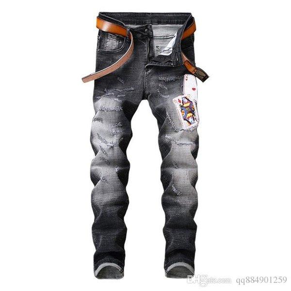 Мужские Проблемные рваные узкие джинсы 2019 Модельер мужских джинсов Тонкого Мотоцикл Байкер Причинных Mens Hip Hop Denim штаны размер 30-38 фото