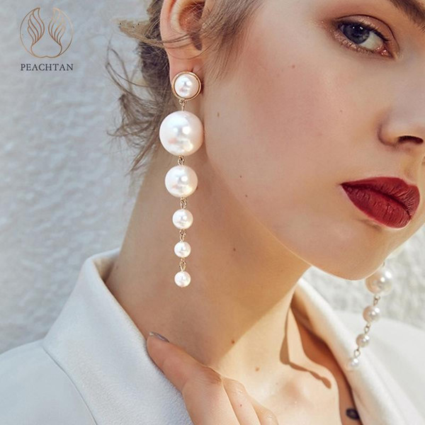 Peachtan Pearl Dangle earrings jewelry wedding party girl gift White natural freshwater baroque pearls drop earrings for women