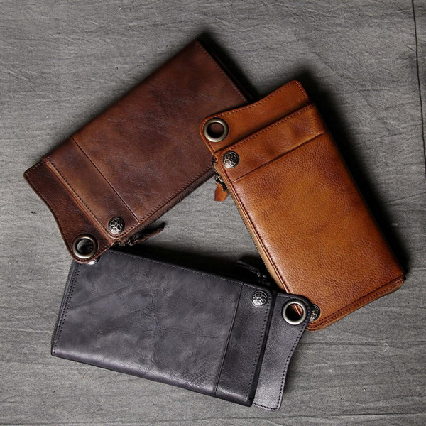 new handmade cowhide men's wallets personality vintage cow leather youth purses casual long genuine leather men's purses (450658649) photo