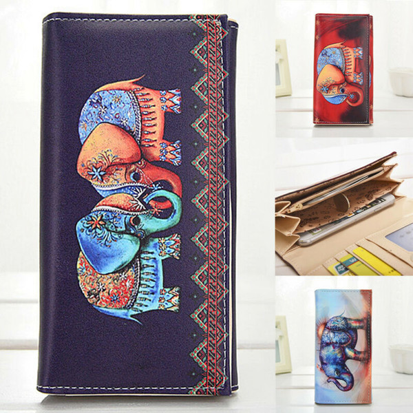 new fashion women girl coin case pu leather purse mini bag lady cartoon wallet portable colorful elephant doodle pattern wallets (482267964) photo