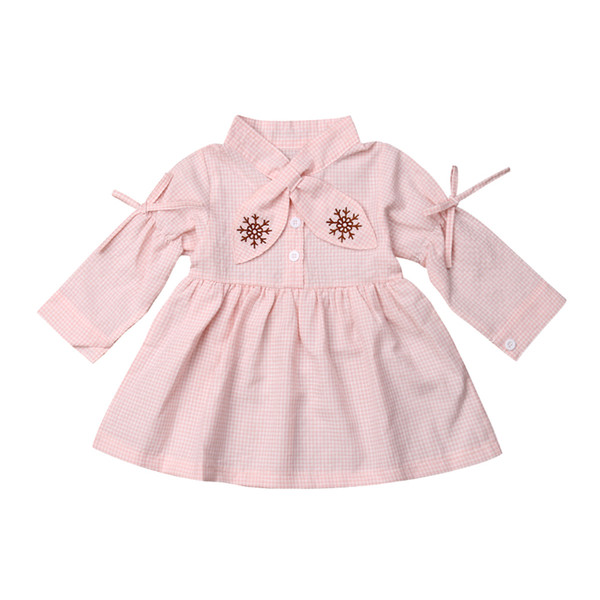 toddler kid baby girl clothes rabbit ear collar plaid dresses 12m-4y cute fashion casual lovely full solid long sleeve