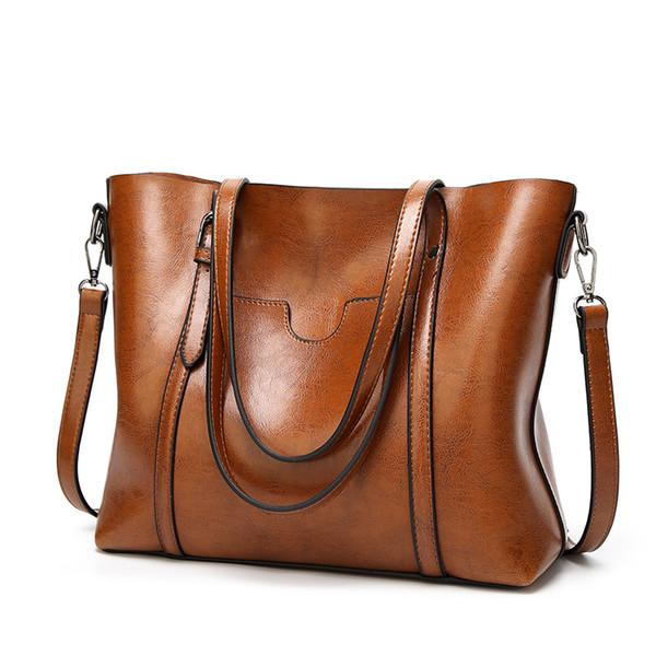 SND Women bag Oil wax Women's Leather Handbags Lady Hand Bags With Purse Pocket Women messenger bag Big Tote Sac Bols фото