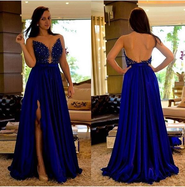 Royal Blue Пром Платья Длинные Дешевые 2019 A Line Сплит Вечерние Формальные Вечерние Плат