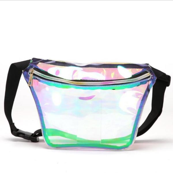 holographic waist bag women laser fanny pack purse transparent hip belt pouch clear transparent waist bag (518655052) photo