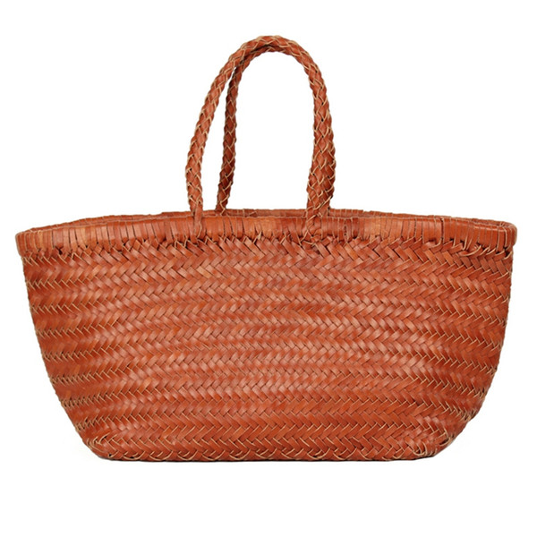 women's genuine leather woven shoulder bag cool weaving bucket handbags french casual tote purse cowhide cross handle bags (502088326) photo