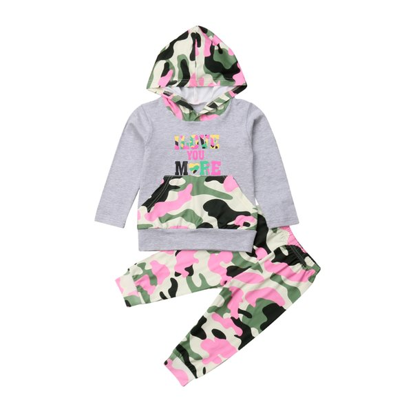 toddler kids girls autumn pink gary letter hooded  long sleeve sweatshirt camouflage long pants trousers outfits clothes set