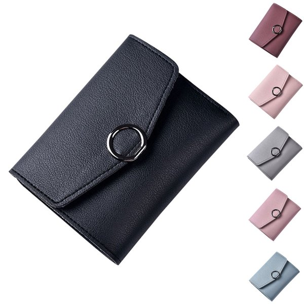 simple fashion women coin purse pu leather candy color ring hasp card holder ladies girls casual short wallets ka-best (466237615) photo