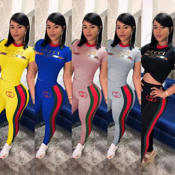 Женщины 2 шт комплект спортивный костюм рубашка брюки наряды с коротким рукавом с фото