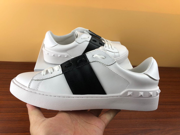 Fashion designer Shoes white Lace Up Genuine Leather Casual shoes Men Women sneakers Flat with box designer Sneakers dress shoes for sale