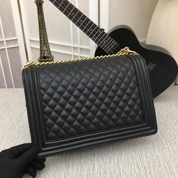 Модельер 30 см черный воловьей кожи решетки стеганые мальчик лоскут мешок цепи сумка золото оборудование женщины бренд сумки полный оригинальный упаковка