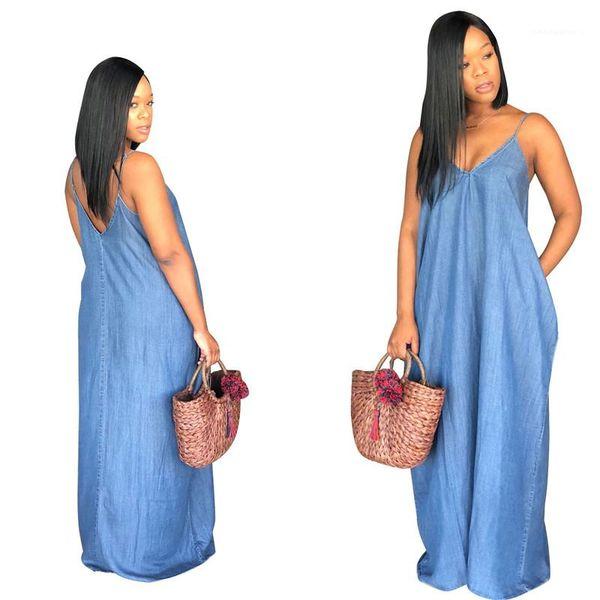 Dresses Sexy Deep V Neck Dresses Fashion Loose Natural Color Dresses Womens Clothing Casual Womens Denim