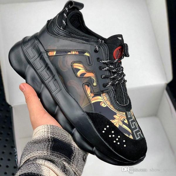 Новые Цветные цепочки Реакция Sneakes Дизайнерские кроссовки Мужские женские спортивные туфли кожаные Повседневная обувь Спортивная легкая подошва