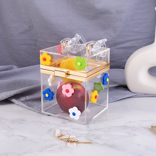 clear acrylic clutch purse women transparent bag plastic flower box bag girl vintage retro party handbag 2019 new (495874915) photo