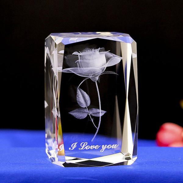 2020 новое поступление прекрасный цветок лазерная гравировка куб кварцевый кристалл 3D Роза резьба блок миниатюры Лучший свадебный подарок для домашнего декора фото