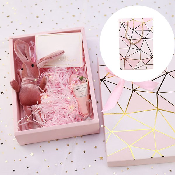 pink shredded paper diy gift box paperboard cookie cake packaging box stamping cardboard luxury wedding candy (495689881) photo
